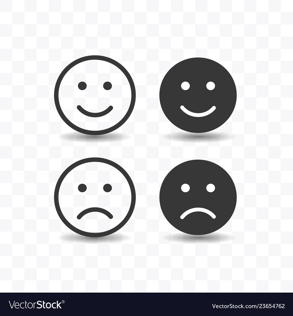 Set of smile and sad icon simple flat style
