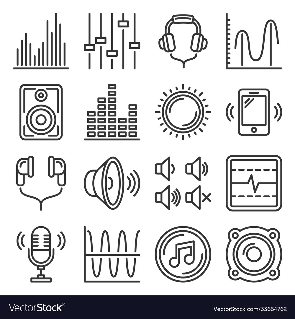 Sound and music volume icons set