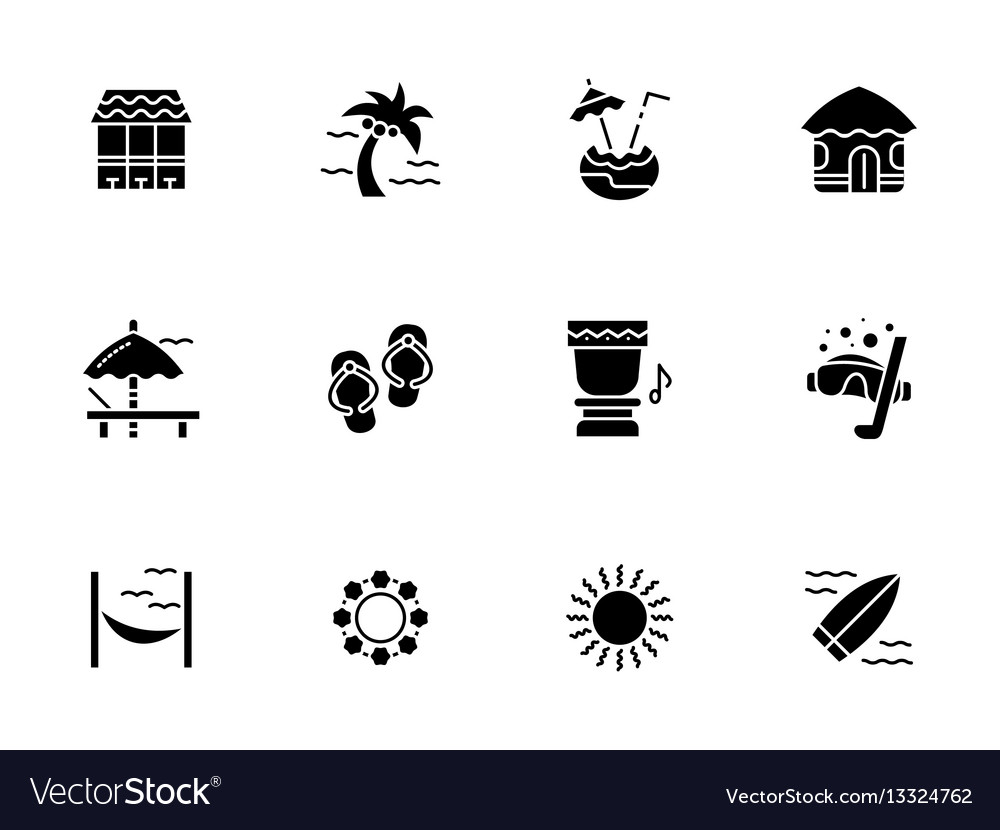 Summer vacations black glyph style icons vector image