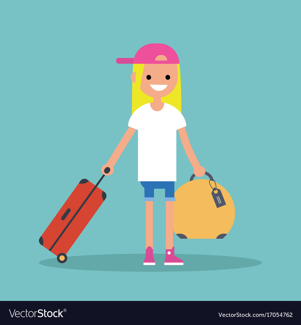 Young teenage girl travelling with her luggage