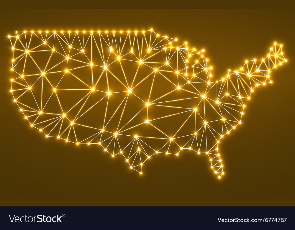 Abstract polygonal map USA with glowing dots and