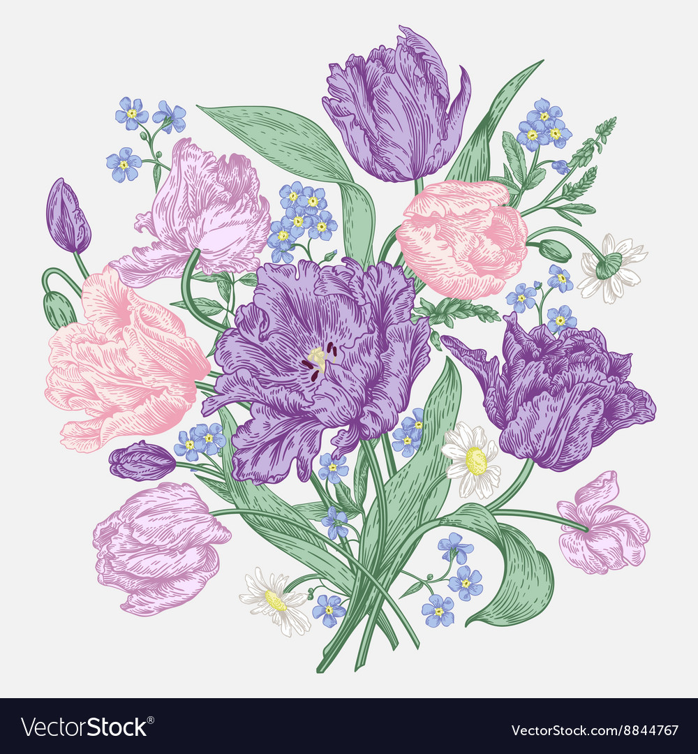 Bouquet of spring flowers on a white background Vector Image