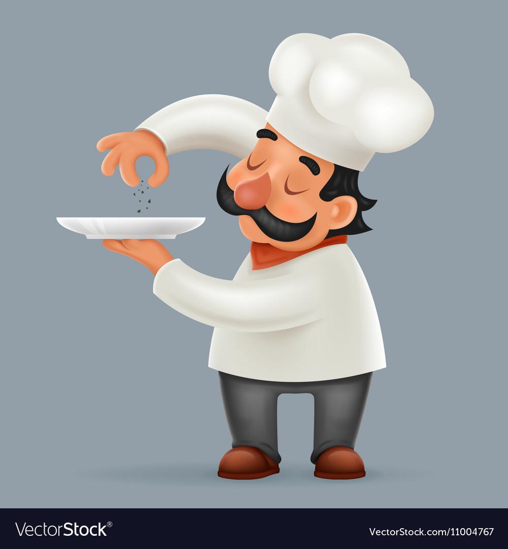 Chef Cook Serving Food 3d Realistic Cartoon