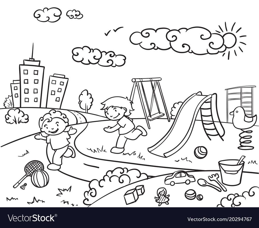 Hand drawn children playground template vector image