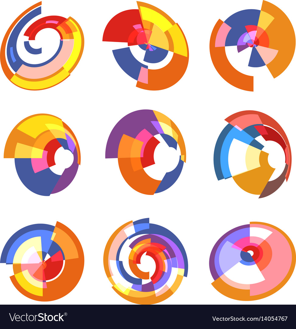 Isolated abstract colorful pie chart logos set