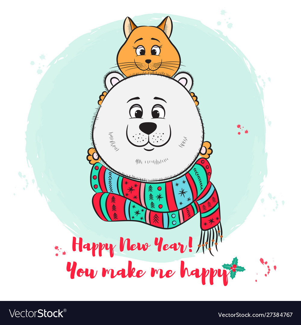 Merry year greeting card with cute
