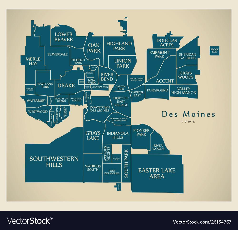 Modern city map - des moines iowa city usa