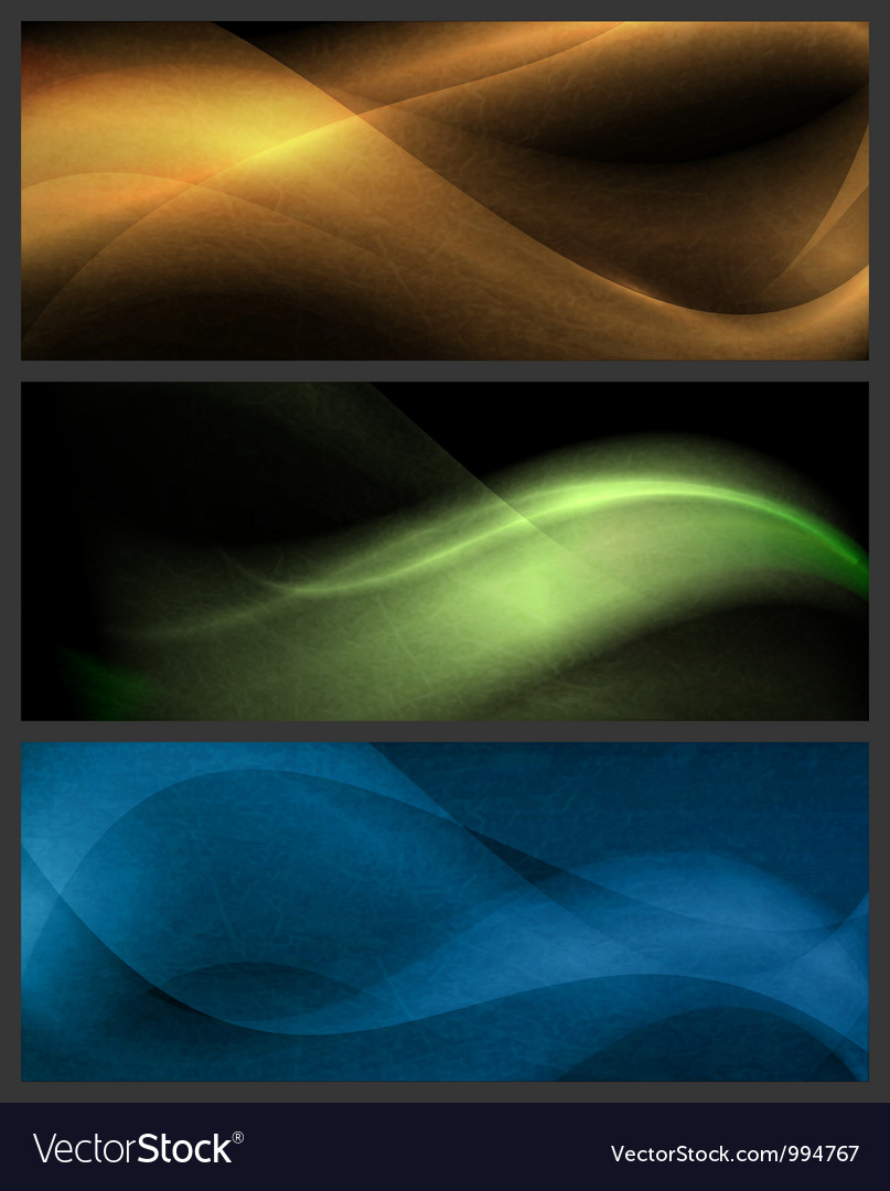 Set of abstract wave patterns on dark background vector image