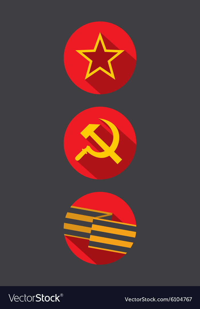 Set of flat style icons of Soviet Union signs