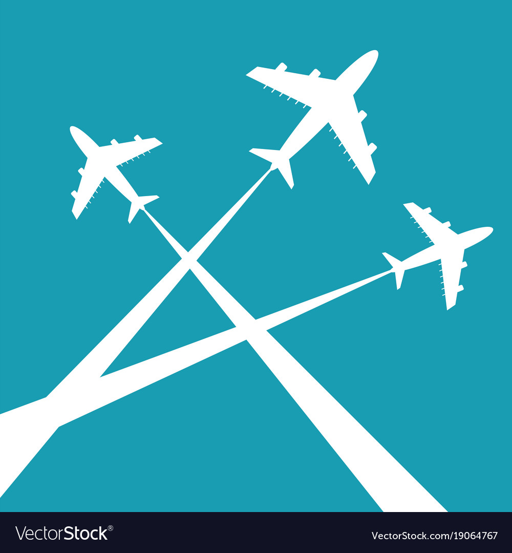 Silhouettes planes in sky traces of the plane vector image