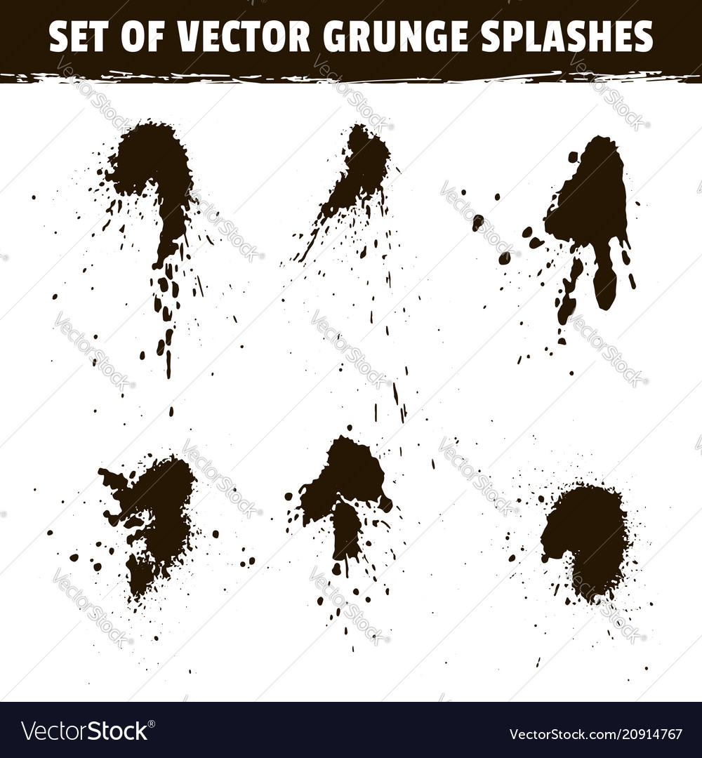 Spray ink blots collection and grunge splashes
