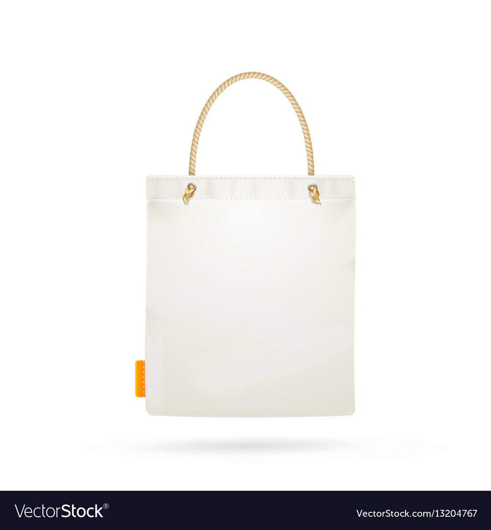 Template blank white fabric cloth tote bag Vector Image