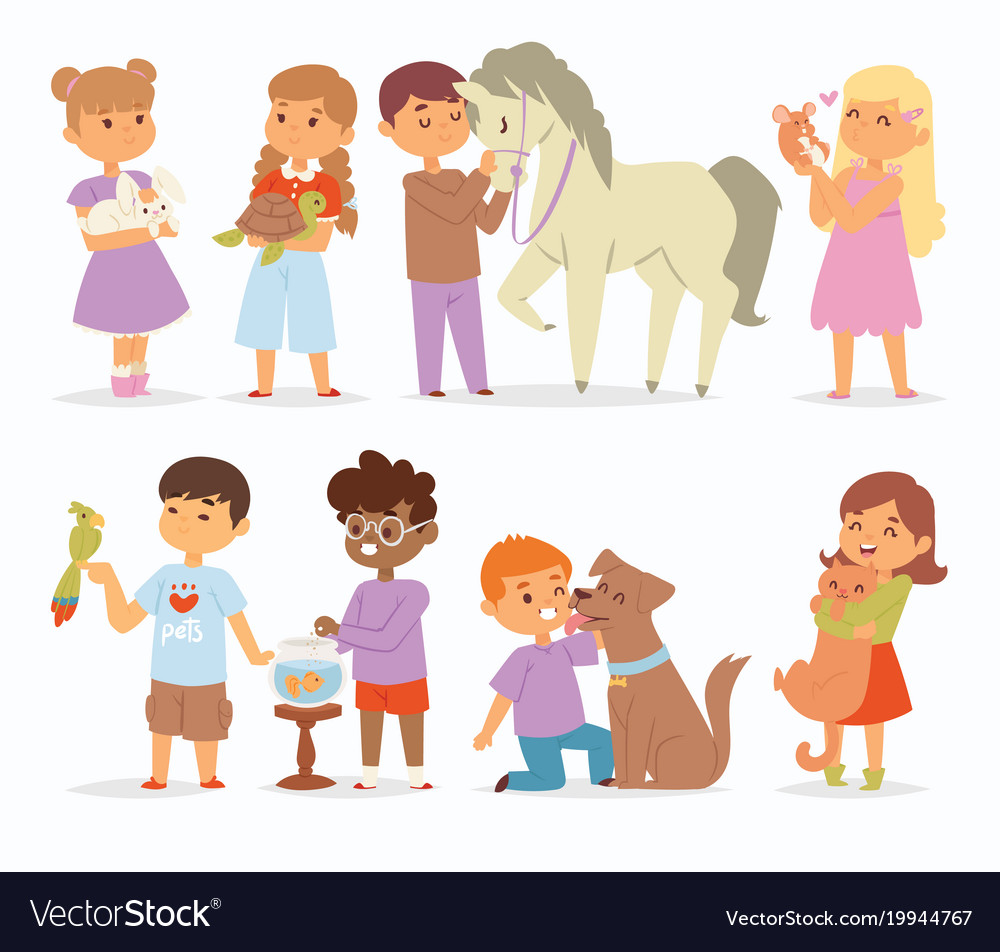 Toddler cartoon kids characters petting
