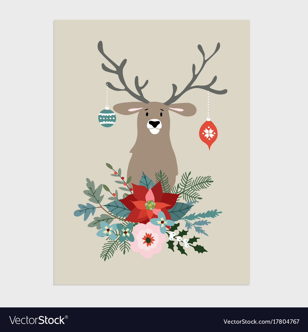 Traditional christmas new year greeting card Vector Image