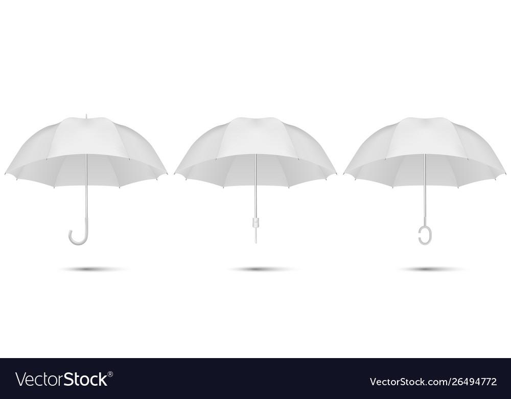 3d realistic render white blank umbrella