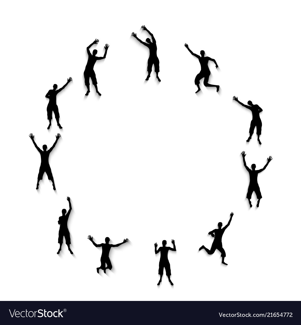 Black and white silhouettes of jumping happy and