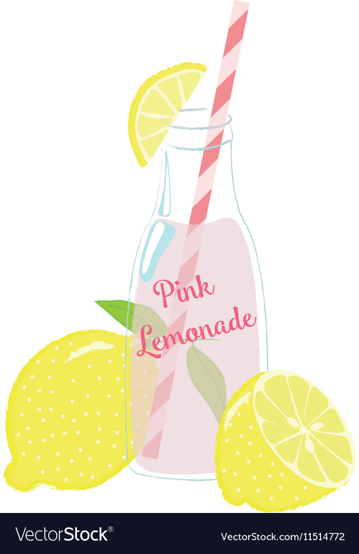 Bottle of Pink Lemonade with Lemons