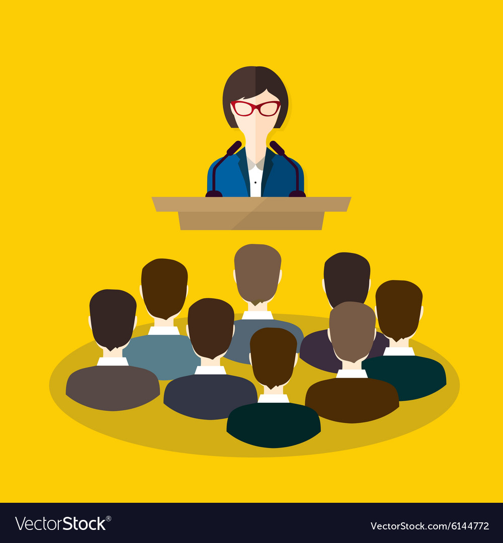 Business woman makes a speech on the podium