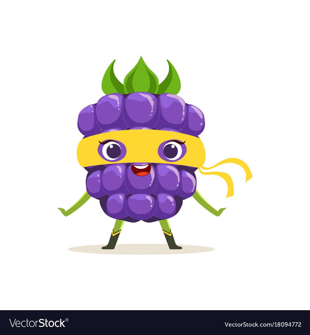 Cartoon character of happy superhero blackberry vector image