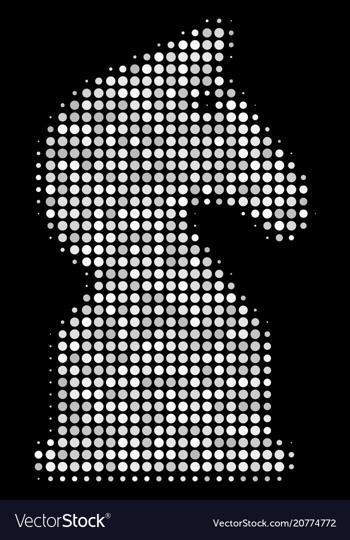 Chess Horse Halftone Icon Royalty Free Vector Image