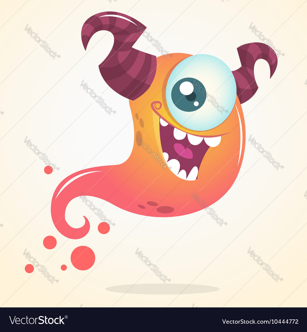 Cute cartoon pink ghost with two horns vector image