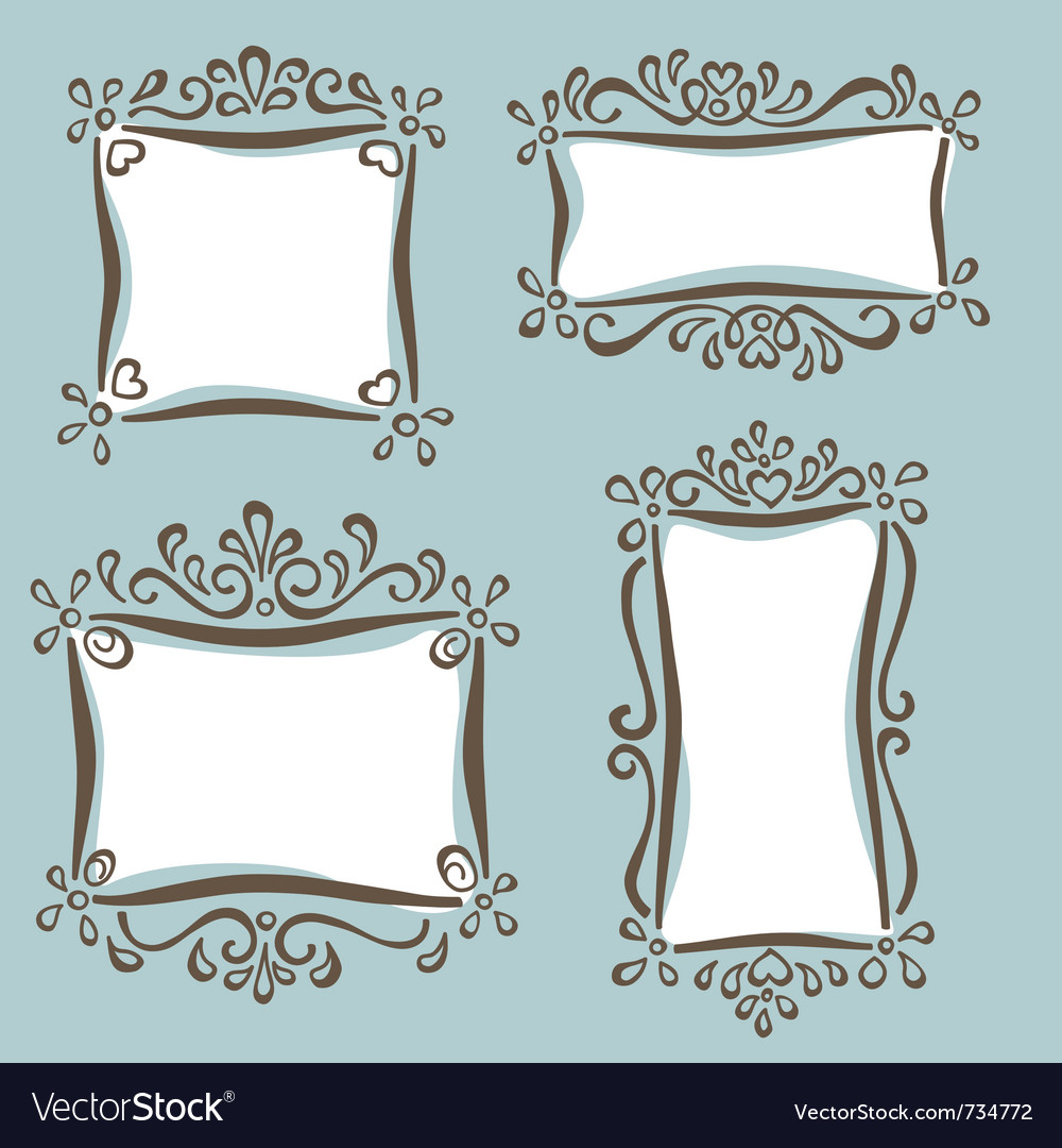 Cute girly frames Royalty Free Vector Image - VectorStock