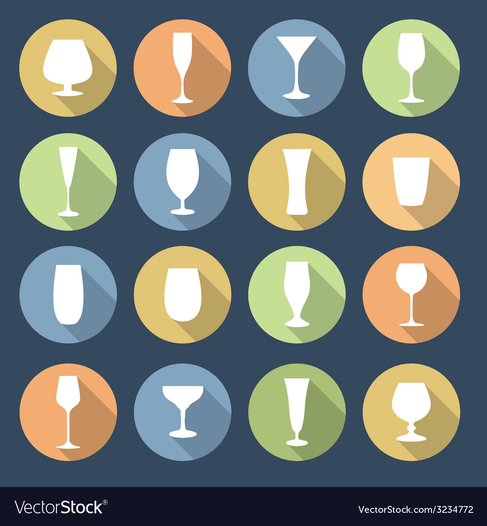 Drink glasses icons set