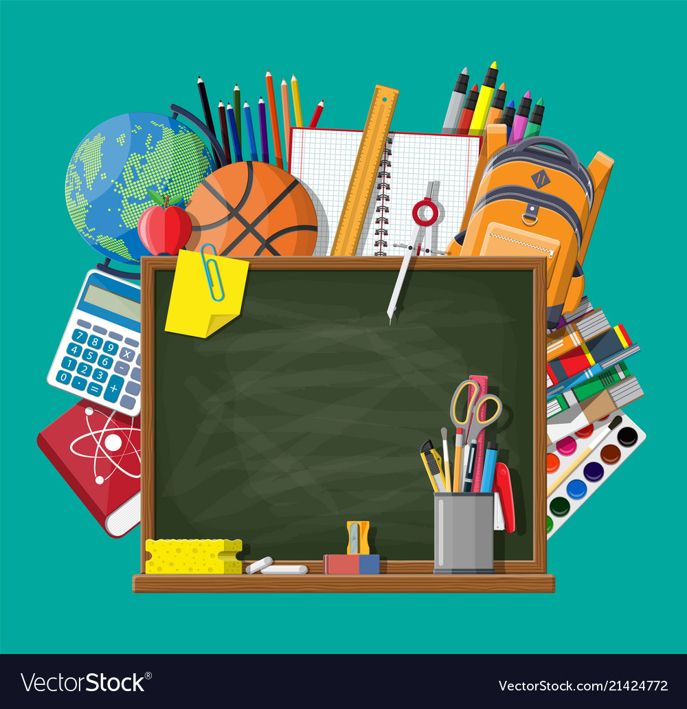 Green chalkboard and school supplies