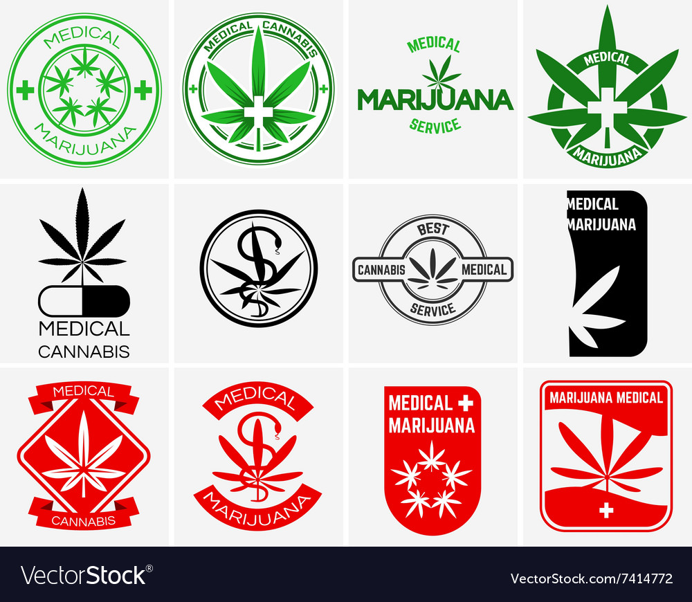 Medical marijuana or cannabis logos labels