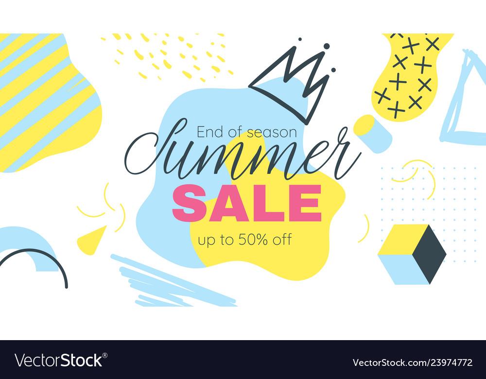 Memphis style summer banner template