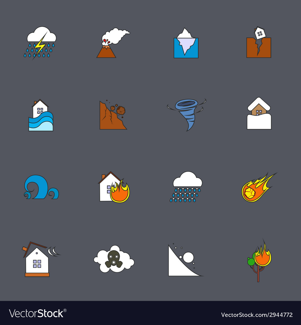 Natural disaster icons flat line