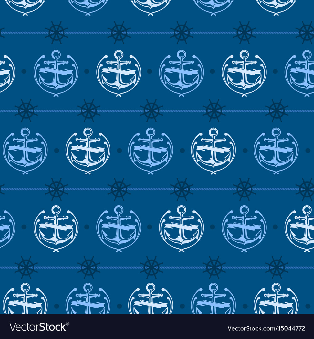 Nautical background anchor vector image