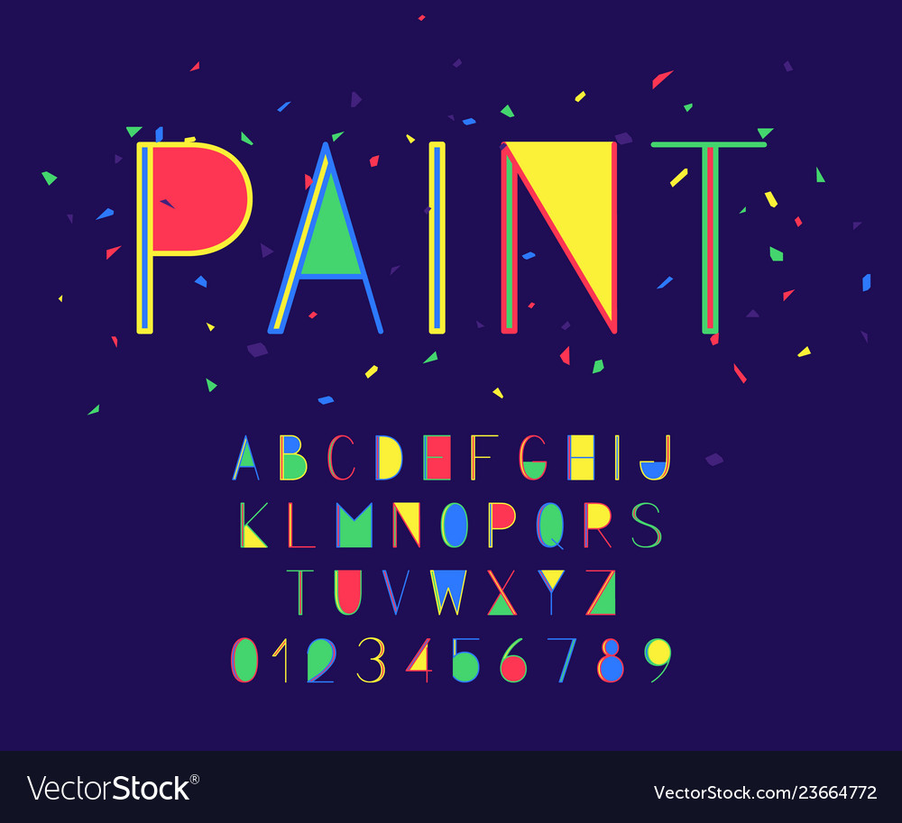 Paint font and alphabet numbers and letters