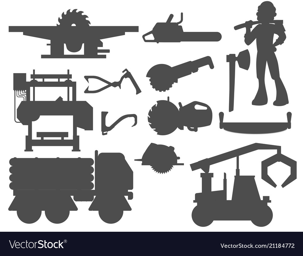 Sawmill woodcutter character logging silhouette
