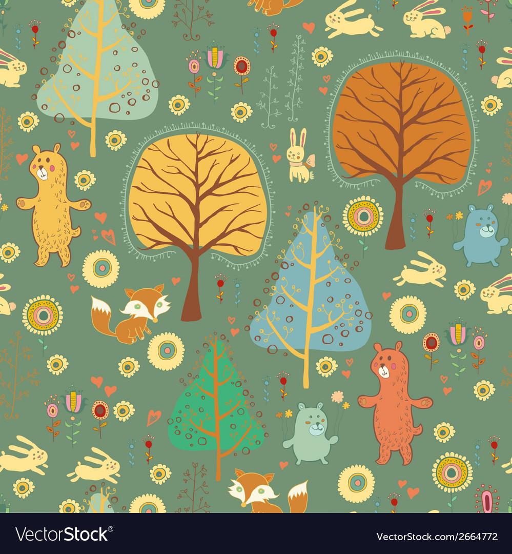 Seamless pattern in childish cartoon style