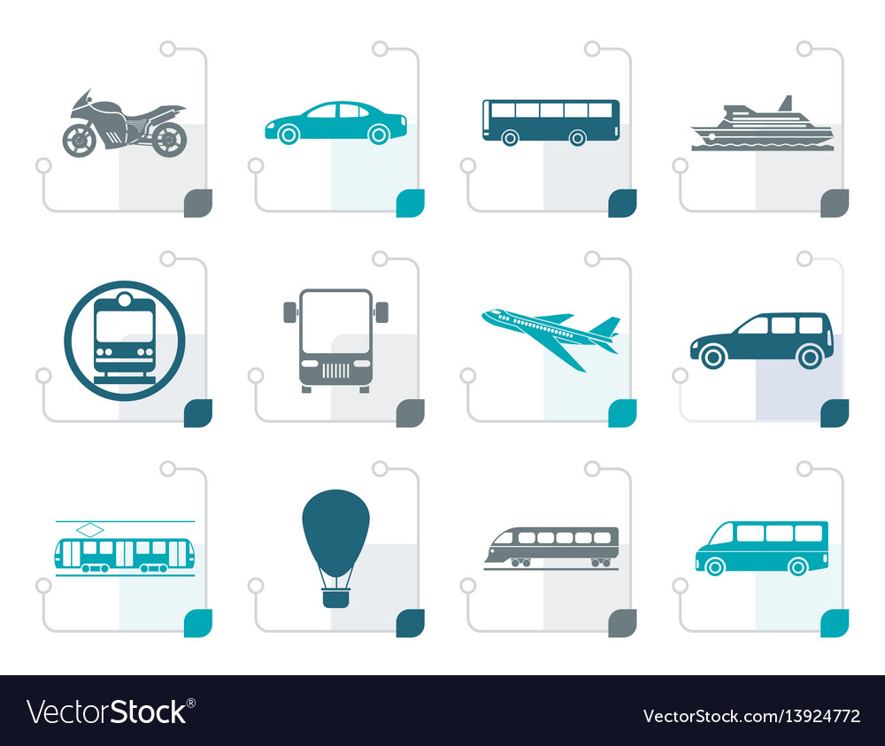 Stylized travel and transportation of people icons