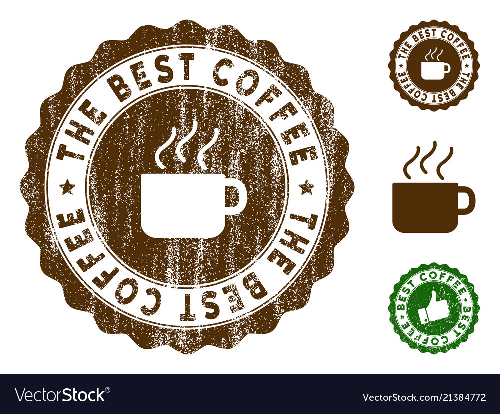 the best coffee stamp seal with grunge surface vector image
