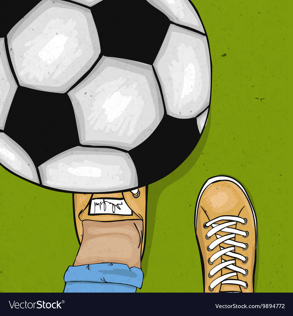 The player throws and gets his foot on the ball
