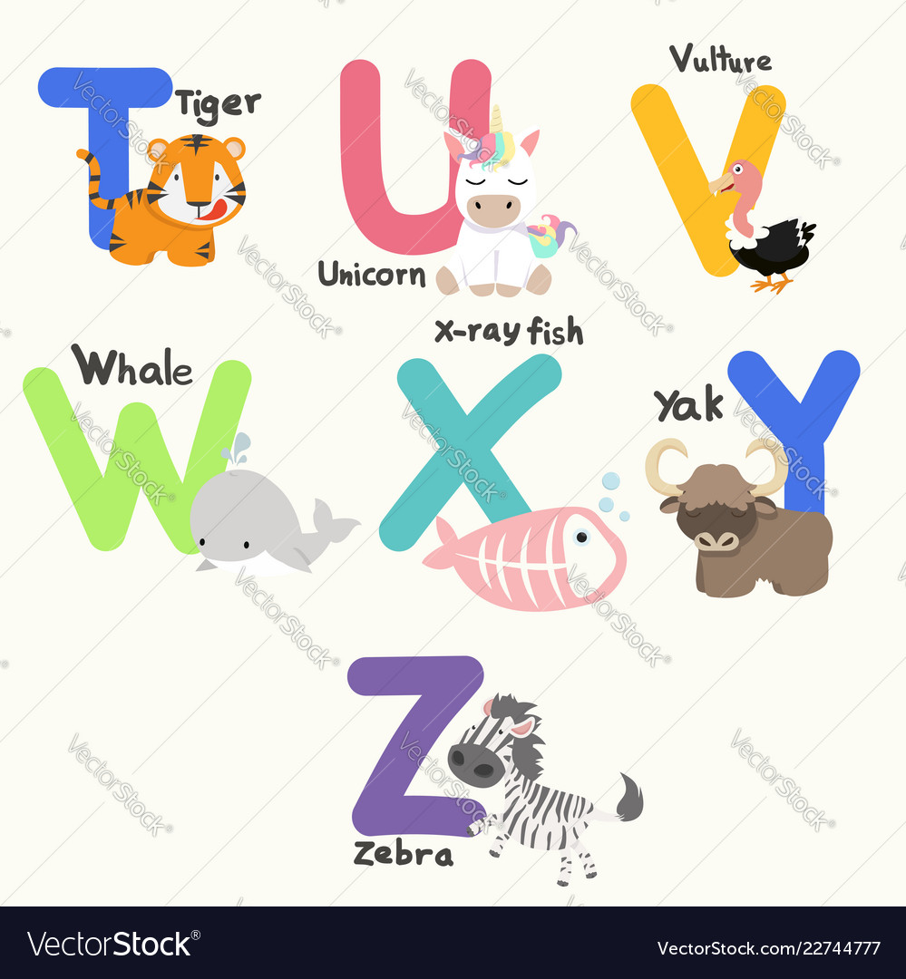 Animal alphabets for children from t to z