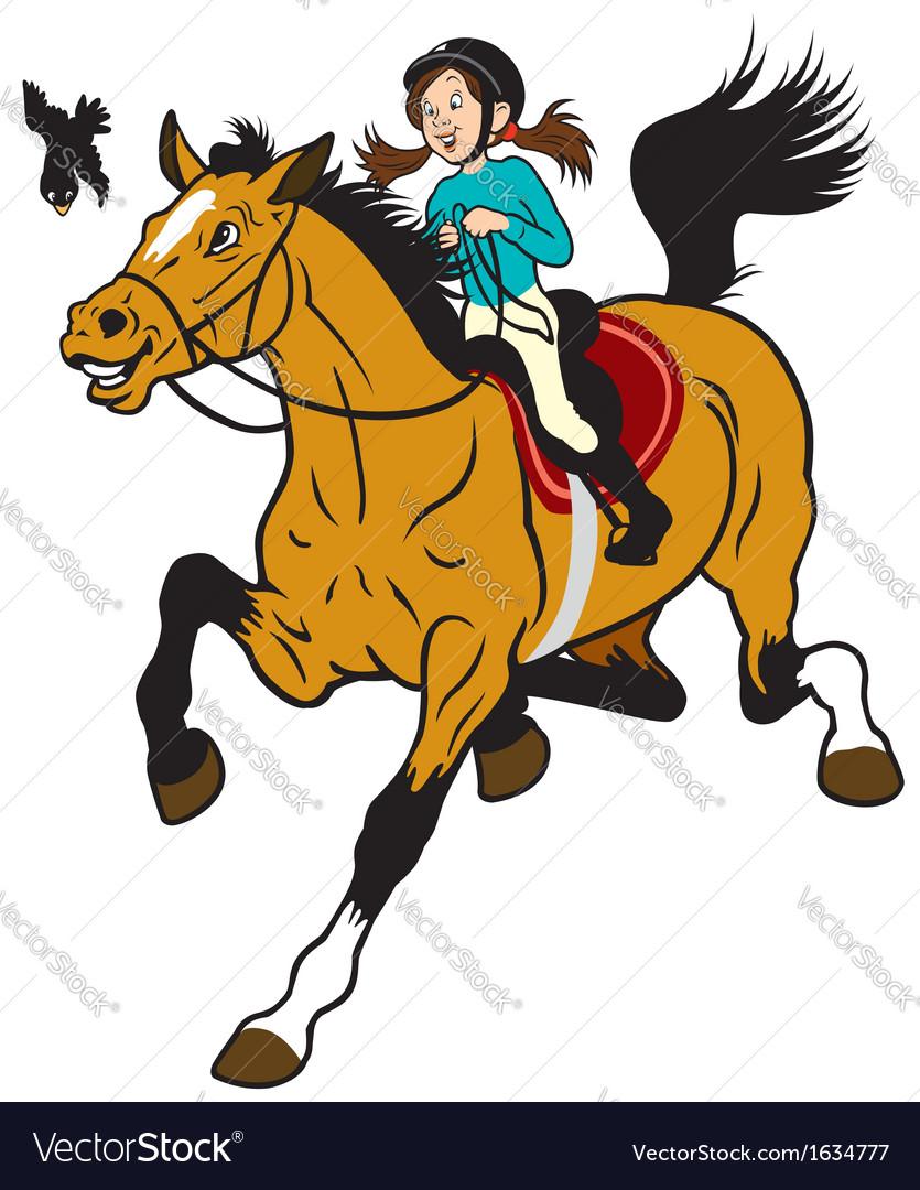 Cartoon Girl Riding Horse Royalty Free Vector Image