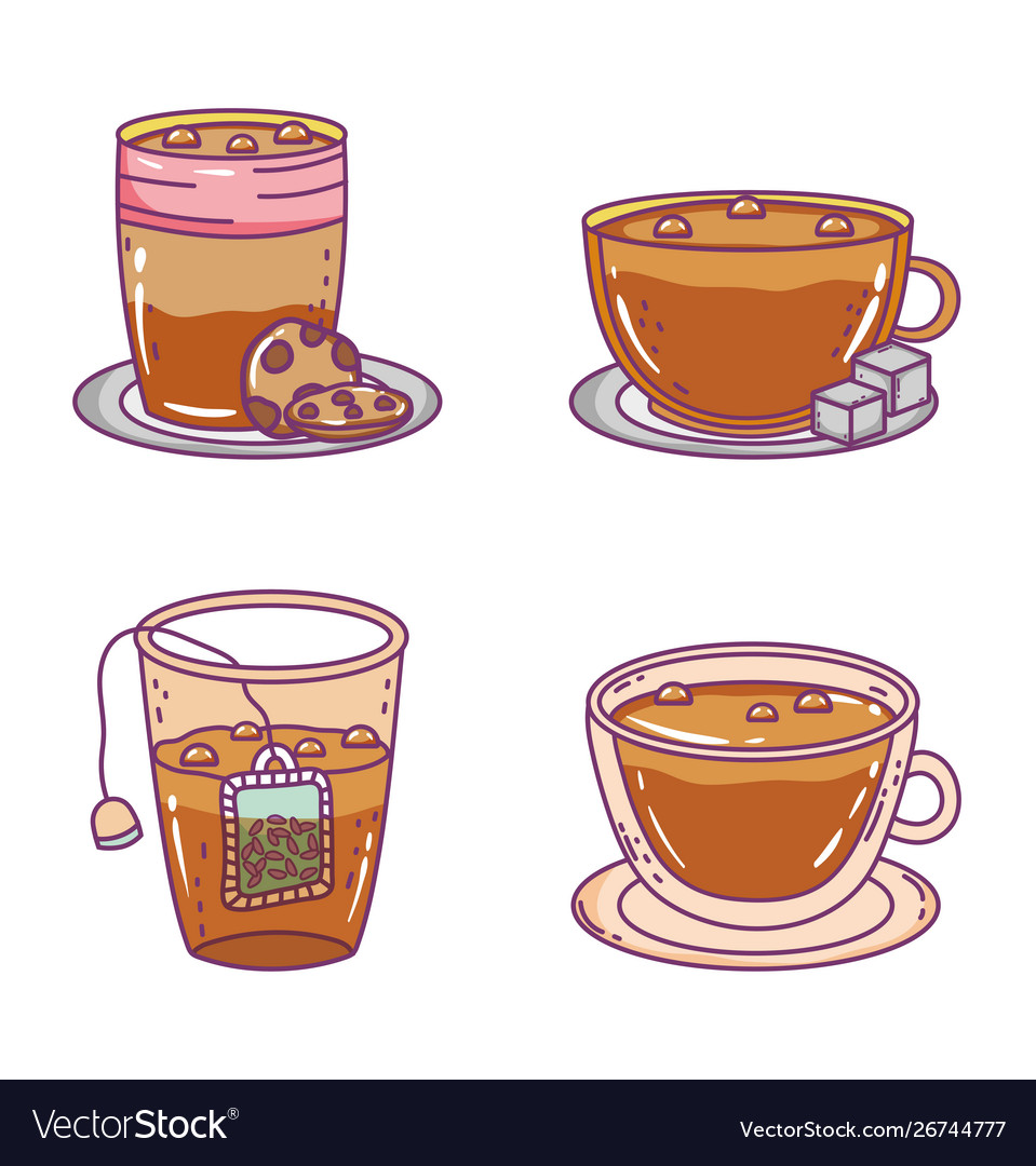 Coffee and tea time sketch flat design