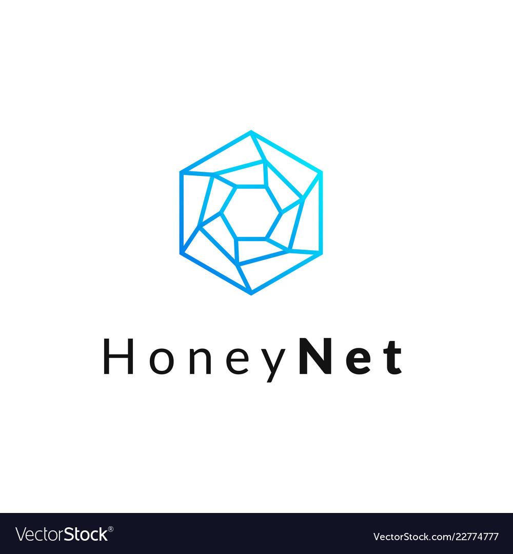 Hexagonal geometrical social network logo