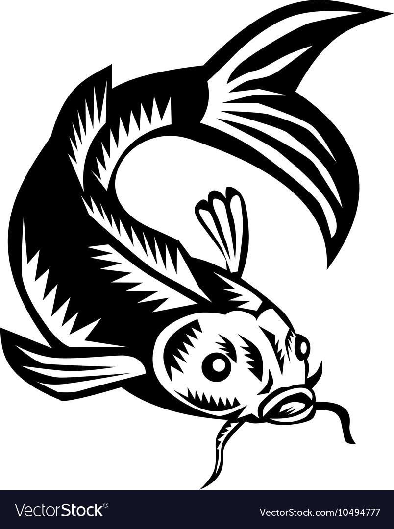 Koi Nishikigoi Carp Fish Woodcut vector image