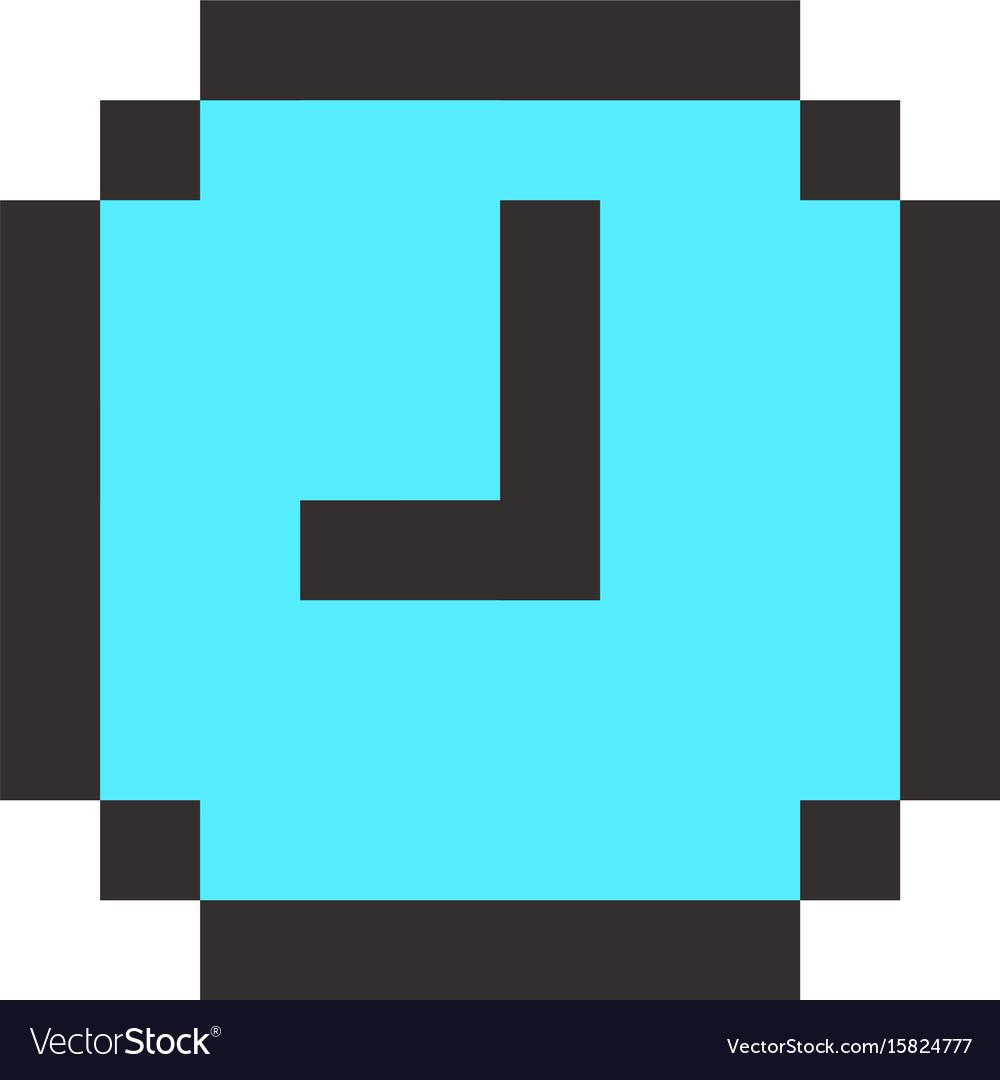Pixel clock time watch retro icon vector image
