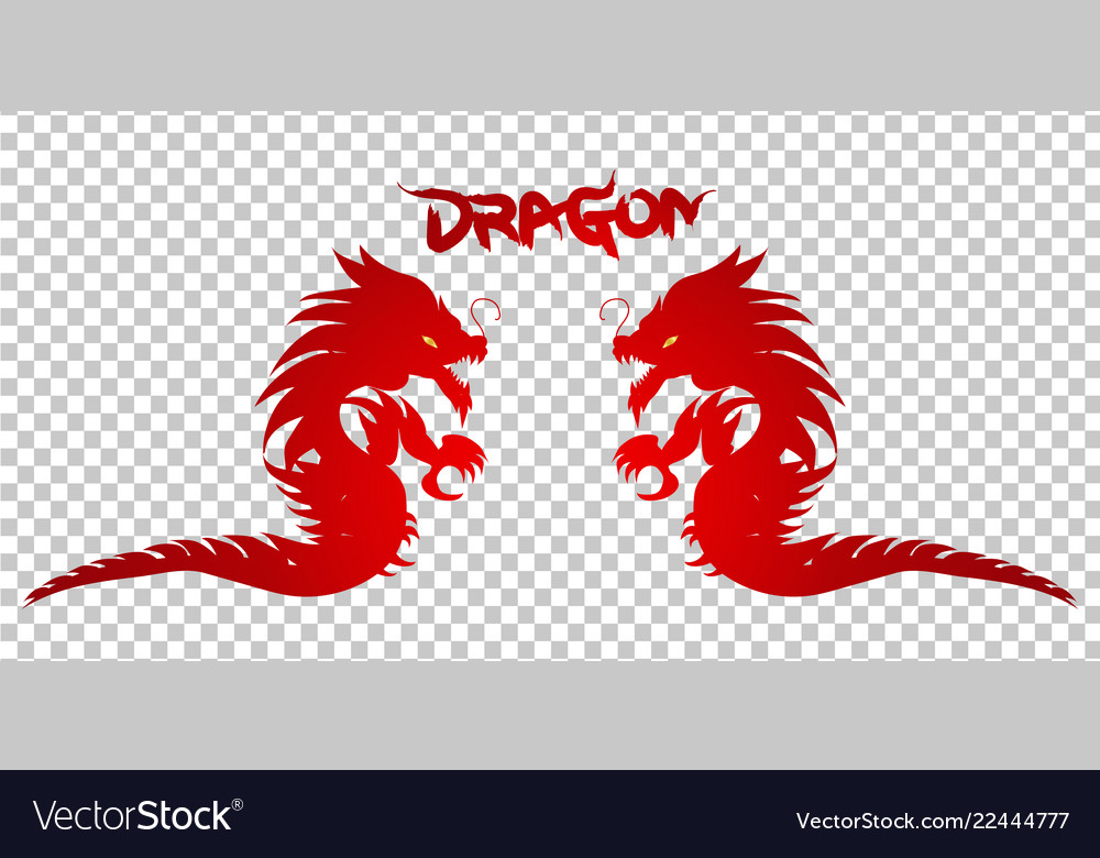 Red dragon silhouette on transparent background