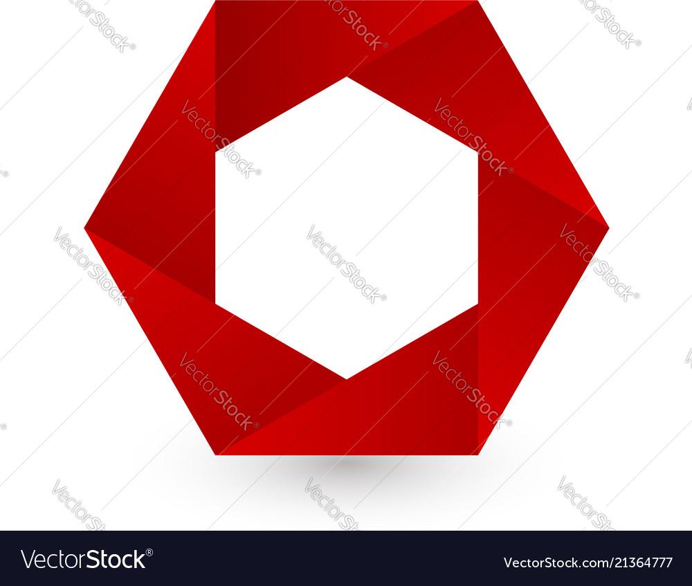Red hexagon shape logo icon Royalty Free Vector Image