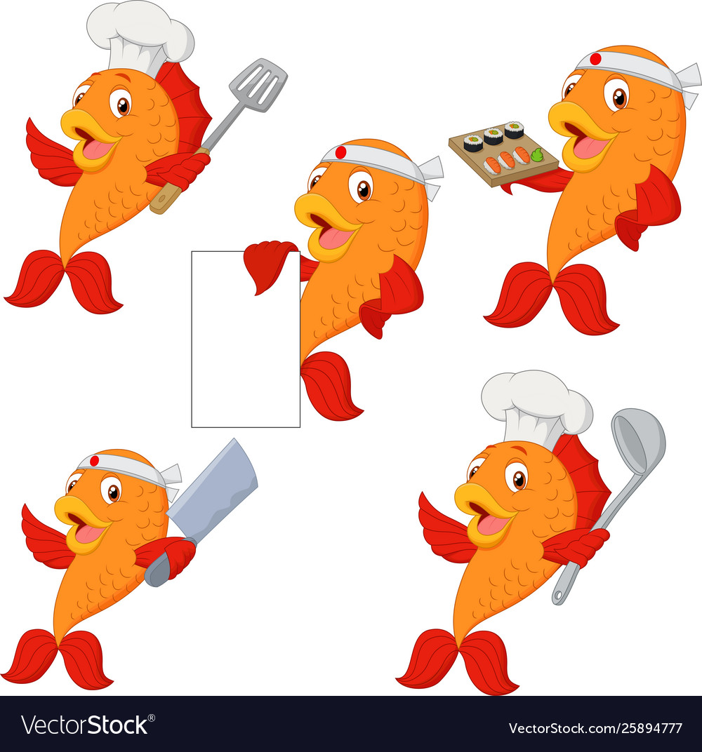 Set chef fish cartoon