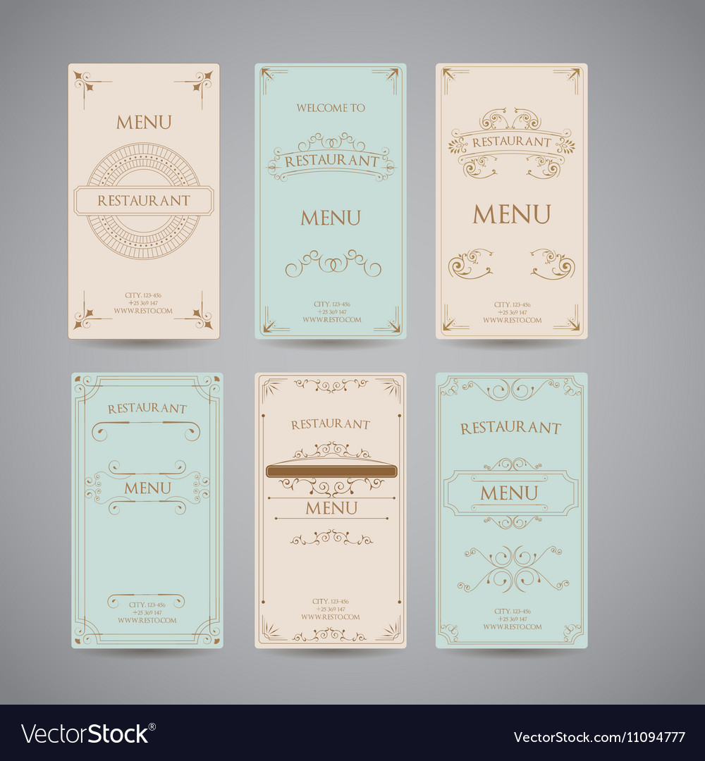 Set Of Vintage Luxury Greeting Restaurant Menu