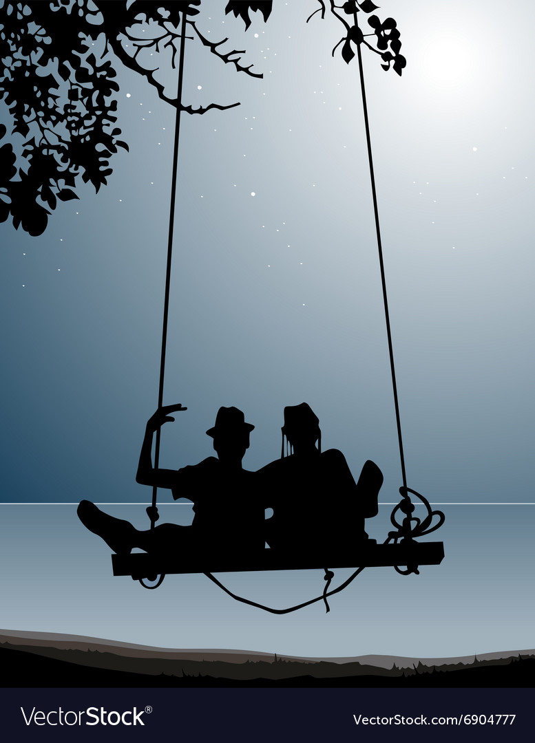 Silhouette of couple of friends on a swing