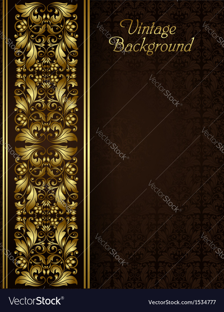 Vintage background with gold filigree border vector image